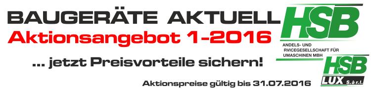 BAUGERÄTE AKTUELL – Aktionsangebote 1/2016