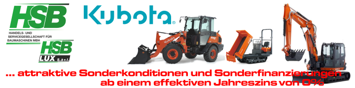 Kubota Baumaschinen – HSB Sonderfinanzierungen und Sonderkonditionen