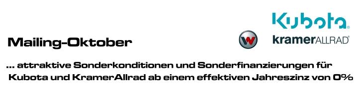 Attraktive Sonderkonditionen und spezielle Sonderfinanzierungen für Kubota und Kramer Allrad